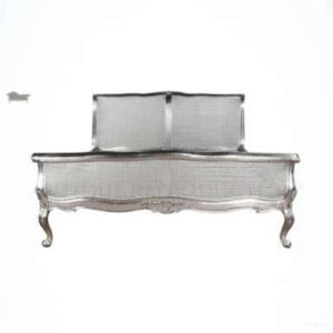 French Provincial Rattan Sleigh Bed