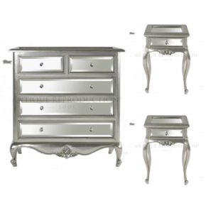 Louis French Chest of Drawers with Bedsides Mirrored Fronts