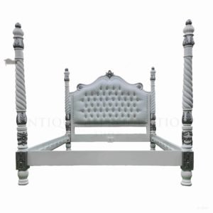 French Provincial Barley Twist 4 Poster Upholstered Bed