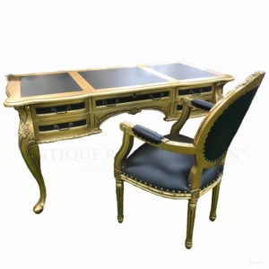 French Provincial Louis Writing Desk 5 Draw and Chair