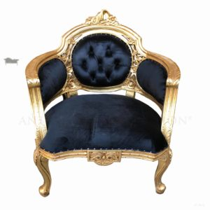 Antoinette Tub Arm Chair Antique Gold Finish Black Micro Velvet